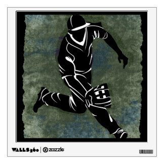 Fielding the Ball on Textured Green Background Wall Sticker