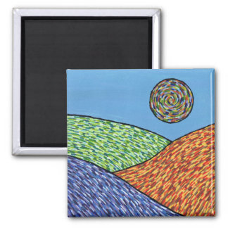 fields and sun 2 inch square magnet