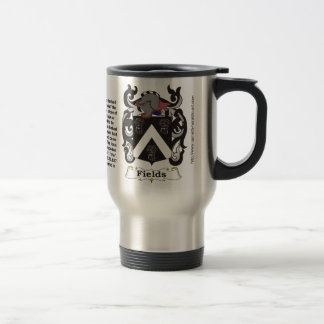 Fields Family Coat of Arms on a Travel Mug