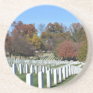 Fields of graves in rows drink coaster