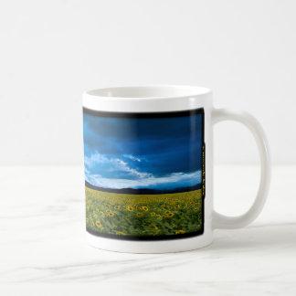 Fields of sunflowers. coffee mug
