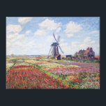 "Fields of Tulip, by Claude Monet Canvas Print<br><div class=""desc"">Full title: Fields of Tulip With The Rijnsburg Windmill, by Claude Monet This masterpiece is simply gorgeous on gallery wrapped canvas which can be mounted on the wall as is, or sent to your favorite frame shop for high-end framing. Note how Monet captures the windswept beauty of the scene, complete...</div>"