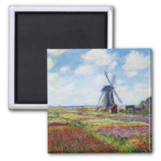 Fields of Tulip With The Rijnsburg Windmill Monet 2 Inch Square Magnet