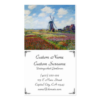 Fields of Tulip With The Rijnsburg Windmill Monet Business Card