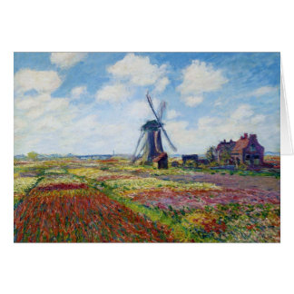 Fields of Tulip With The Rijnsburg Windmill Monet Card