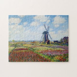 Fields of Tulip With The Rijnsburg Windmill Monet Jigsaw Puzzle