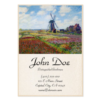 Fields of Tulip With The Rijnsburg Windmill Monet Large Business Card