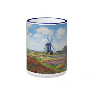 Fields of Tulip With The Rijnsburg Windmill Monet Ringer Coffee Mug