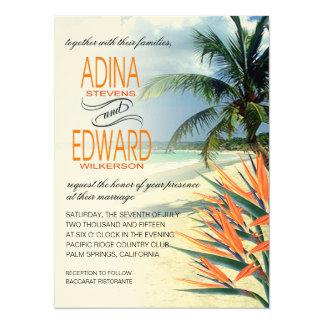 FIELTRO tropical de la papaya de la playa el | de Invitación