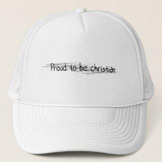 Fier d'être Chrétien noir sur ratures argent Trucker Hat