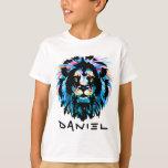 Fierce African Lion Watercolor Black Ink T-Shirt
