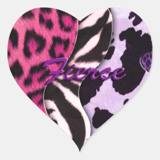 Fierce Animal Print Heart Stickers