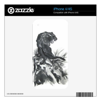Fierce Black Panther Art Skin Decals For iPhone 4S