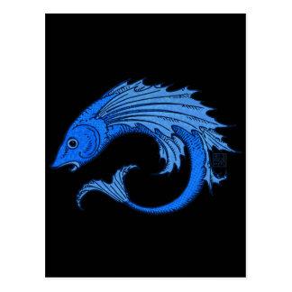 Fierce Blue Elemental Flying Fish Postcard