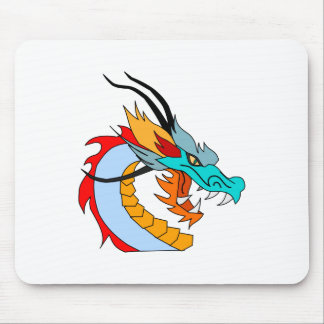 Fierce Blue, Yellow, Red, Orange Chinese Dragon Mouse Pad