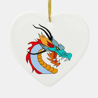 Fierce Blue, Yellow, Red, Orange Chinese Dragon Christmas Ornament