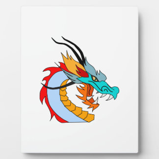 Fierce Blue, Yellow, Red, Orange Chinese Dragon Plaques