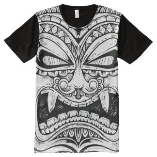 Fierce Carved Totem Pole Face All-Over-Print Shirt