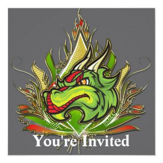 Fierce Dragon Flames Golden Metallic 5.25x5.25 Square Paper Invitation Card