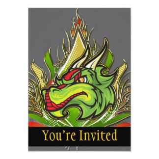 Fierce Dragon Flames Golden Metallic 5x7 Paper Invitation Card
