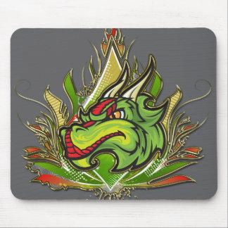 Fierce Dragon Flames Golden Metallic Mouse Pad