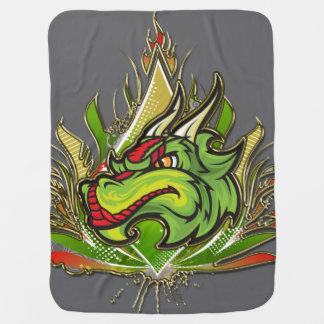 Fierce Dragon Flames Golden Metallic Stroller Blankets