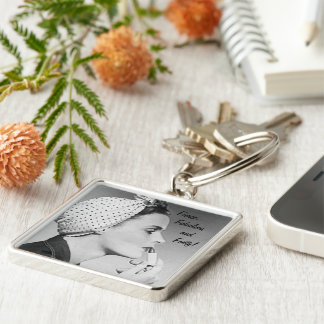 Fierce, Fabulous and Forty Silver-Colored Square Keychain