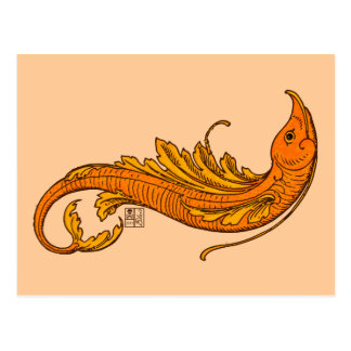 Fierce Fiery Orange Flying Elemental Fish Postcard