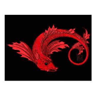 Fierce Fiery Red Flying Elemental Fish Postcard