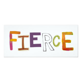 Fierce fun colorful art words strong bold brave card