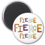 Fierce fun colorful art words strong bold brave fridge magnet