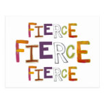 Fierce fun colorful art words strong bold brave postcard