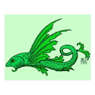 Fierce Green Elemental Flying Fish Postcard