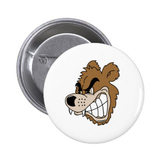 Fierce Grizzly Bear Button