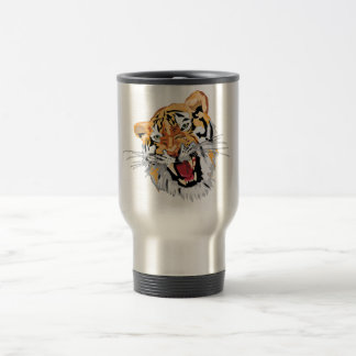 Fierce Growling Tiger 15 Oz Stainless Steel Travel Mug