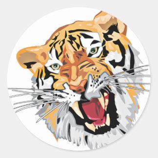 Fierce Growling Tiger Classic Round Sticker