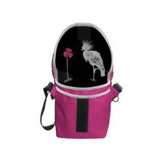Fierce Haired Bird Mini Messenger Bag Inside Print