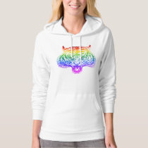 Fierce Hand Drawn Rainbow Tiger Hoodie for Her