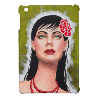 Fierce Lady with Red Rose Case For The iPad Mini