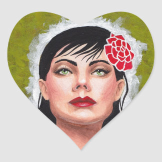 Fierce Lady with Red Rose Sticker