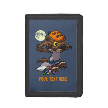 Halloween Themed Fierce Little Werewolf Trick Or Treating Cartoon Tri-fold Wallet