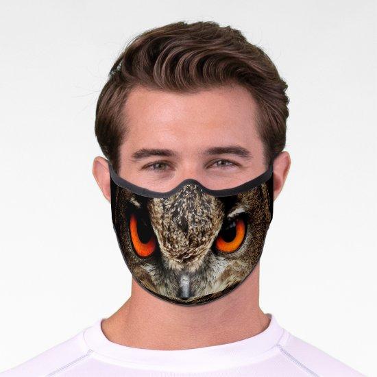 Fierce Looking Owl Orange Eyes Premium Face Mask