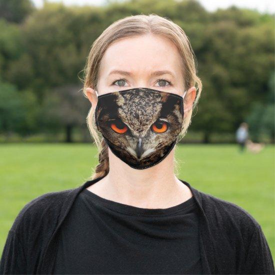 Fierce Owl Wildlife Illustration Adult Cloth Face Mask