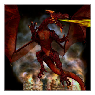 Fierce Red Dragon Poster