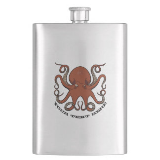 Fierce Red Octopus Tentacles Cartoon With Text Hip Flask