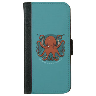 Fierce Red Octopus Tentacles Cartoon With Text Wallet Phone Case For iPhone 6/6s