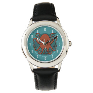Fierce Red Octopus Tentacles Cartoon With Text Watches