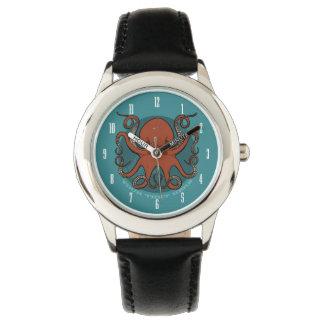 Fierce Red Octopus Tentacles Cartoon With Text Wrist Watch