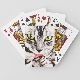 Fierce Tabby Cat Playing Cards