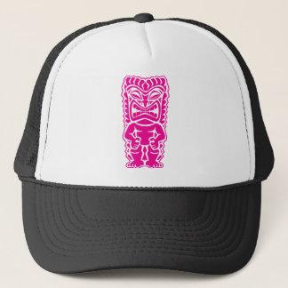 fierce tiki hot pink warrior tribal god trucker hat